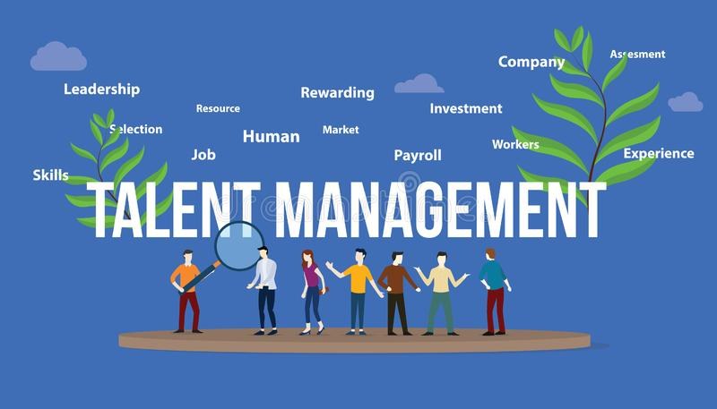 Talent management concept with big text and team people with green leaf - vector. Illustration vector illustration