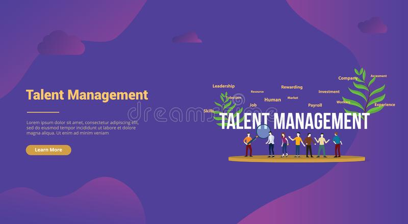 Talent management concept with big text and team people for website template landing homepage - vector. Illustration stock illustration