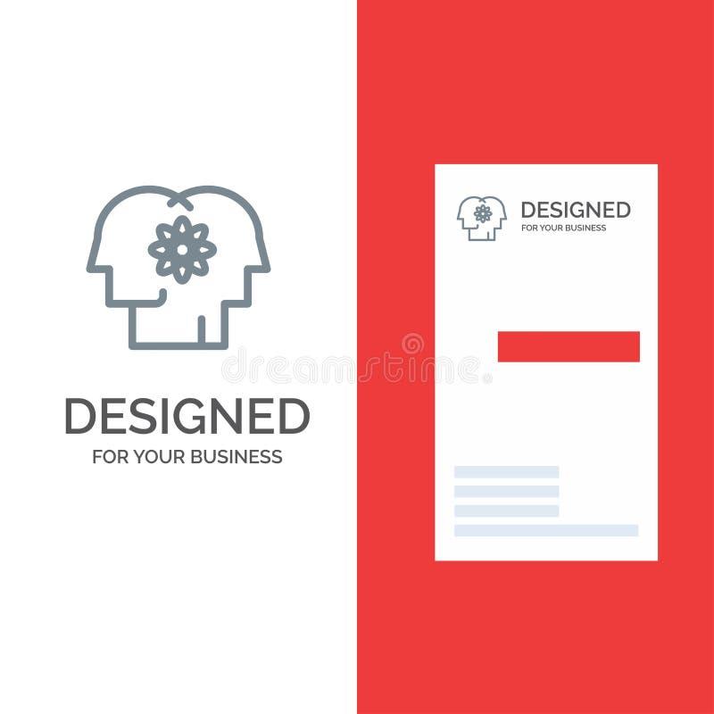 Talent, Mens, Verbetering, Beheer, Mensen Grey Logo Design en Visitekaartjemalplaatje royalty-vrije illustratie
