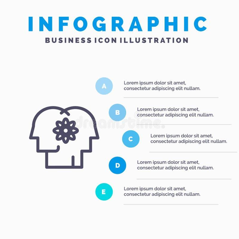 Talent, Mensch, Verbesserung, Management, Leute zeichnen Ikone mit Hintergrund infographics die Darstellung mit 5 Schritten lizenzfreie abbildung