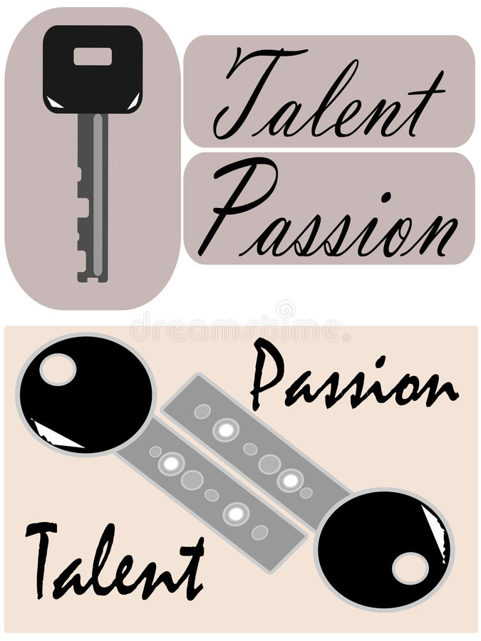Talent and passion are the keys, vector royalty free illustration