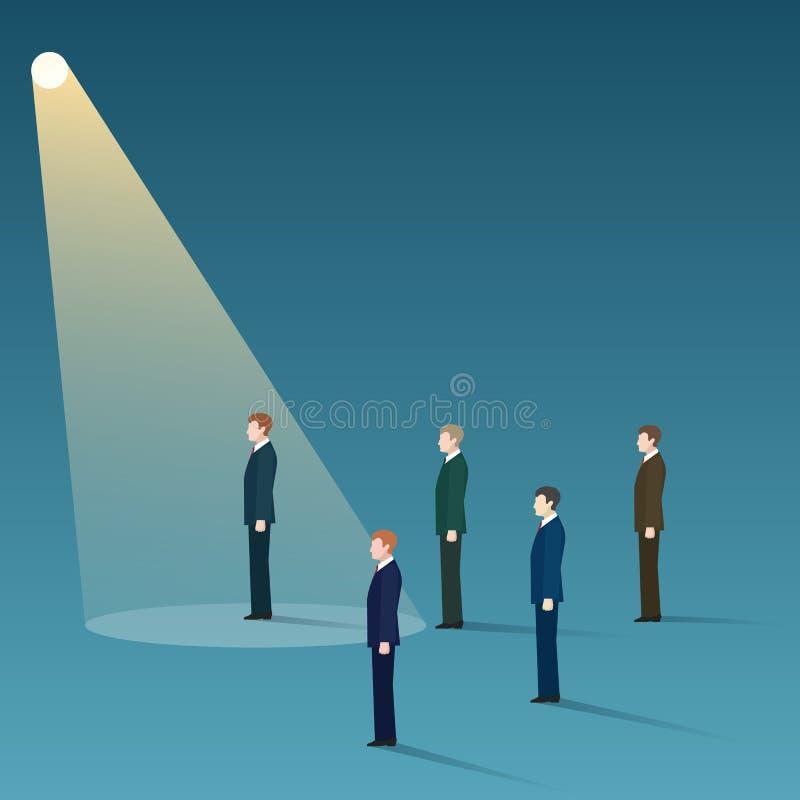 Talent recruit concept. Talent recruit. Hiring vector concept. Businessman standing in spotlight looking for new career opportunities, vector illustration vector illustration