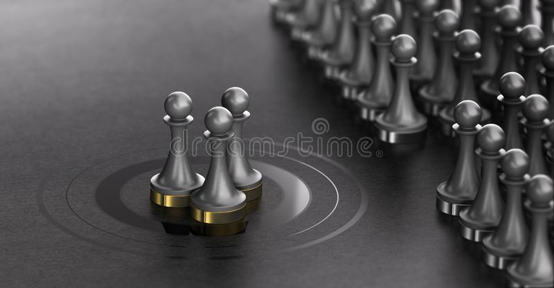 Talent Scouting, Successful Shortlisted Candidates, Recruitment Concept. 3D illustration of pawns over black background with three of them in the center of a vector illustration
