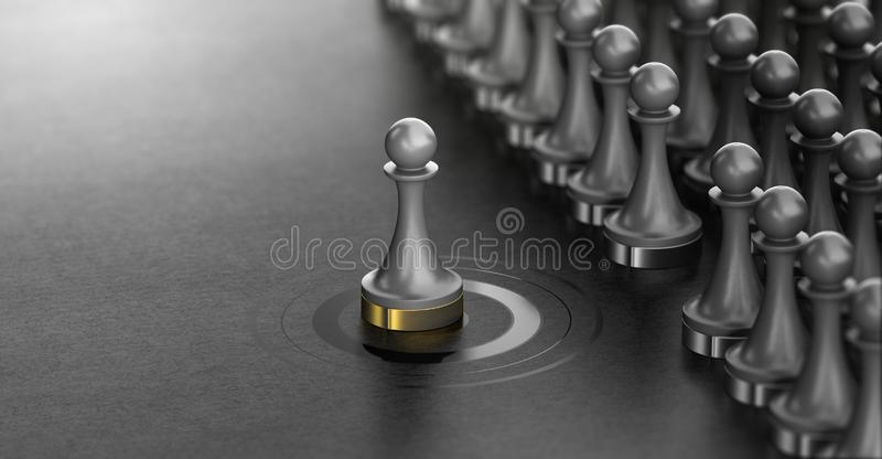 Talent Scouting, Successful Spotted Candidate, Recruitment Concept. 3D illustration of pawns over black background with one of them in the center of a target stock illustration