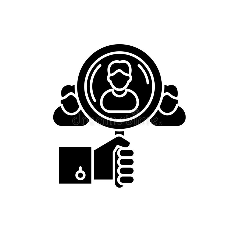 Talent search black icon, vector sign on isolated background. Talent search concept symbol, illustration. Talent search black icon, concept vector sign on royalty free illustration