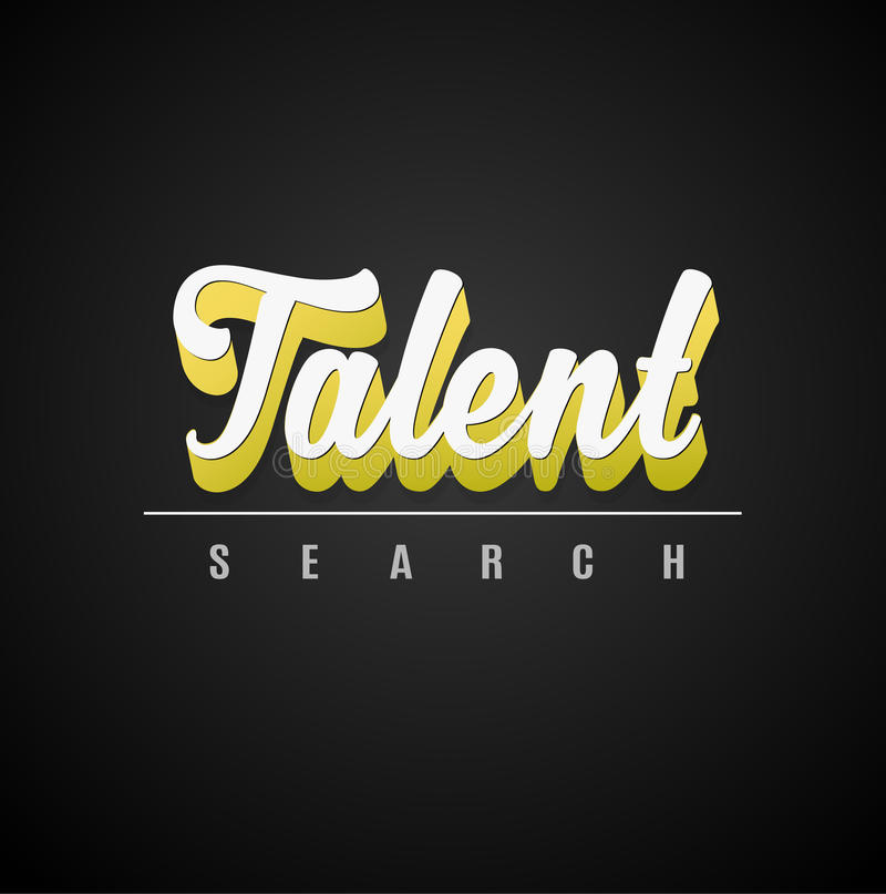 `Talent search` calligraphic 3D text with shadow effect. Vector art royalty free illustration