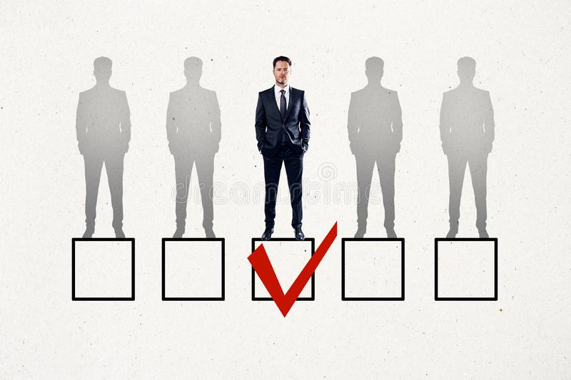 Talent search and HR concept. Faded row of businessmen on white background with one red tick in box. Talent search and HR concept vector illustration