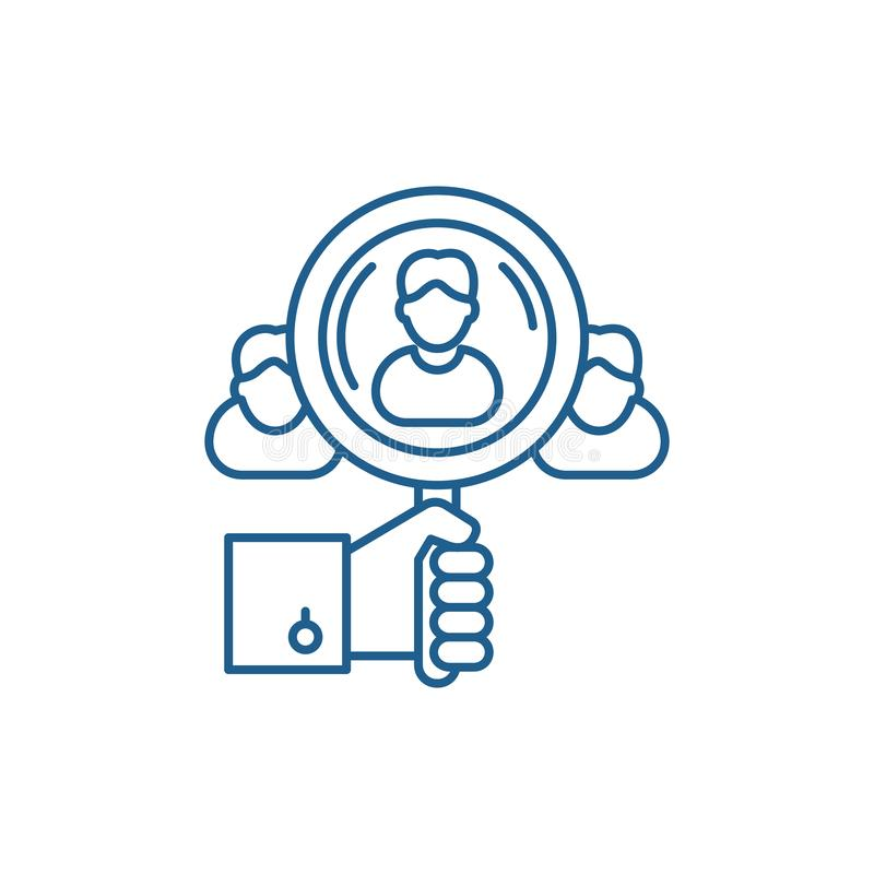 Talent search line icon concept. Talent search flat  vector symbol, sign, outline illustration. Talent search line concept icon. Talent search flat  vector royalty free illustration