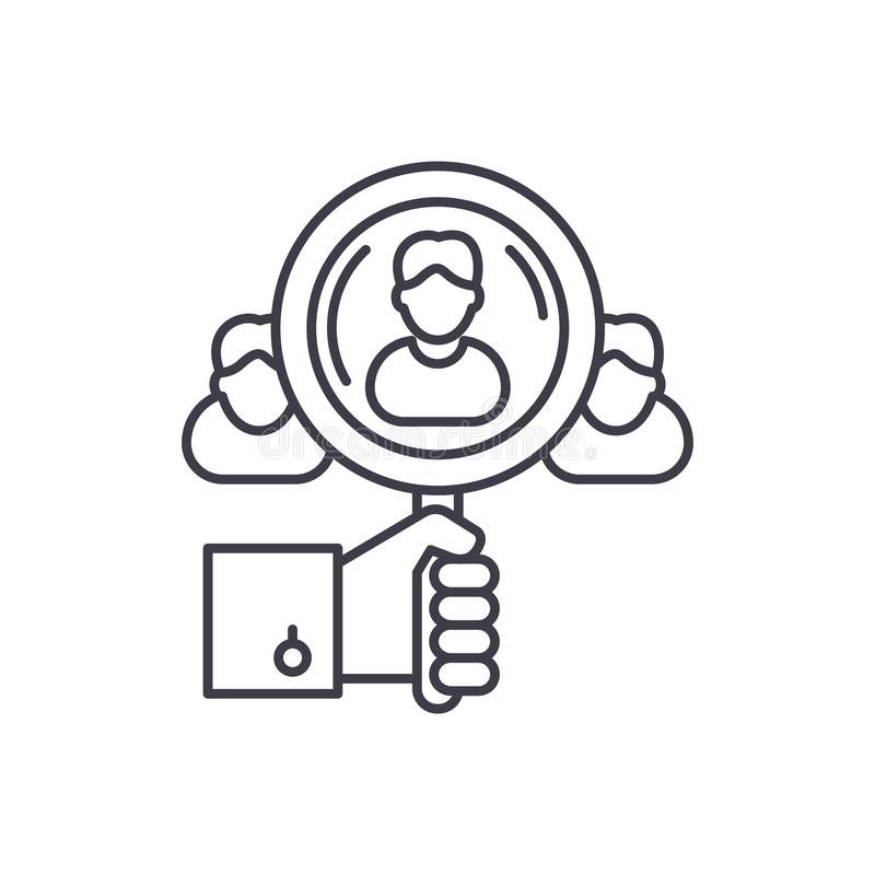 Talent search line icon concept. Talent search vector linear illustration, symbol, sign. Talent search line icon concept. Talent search vector linear royalty free illustration