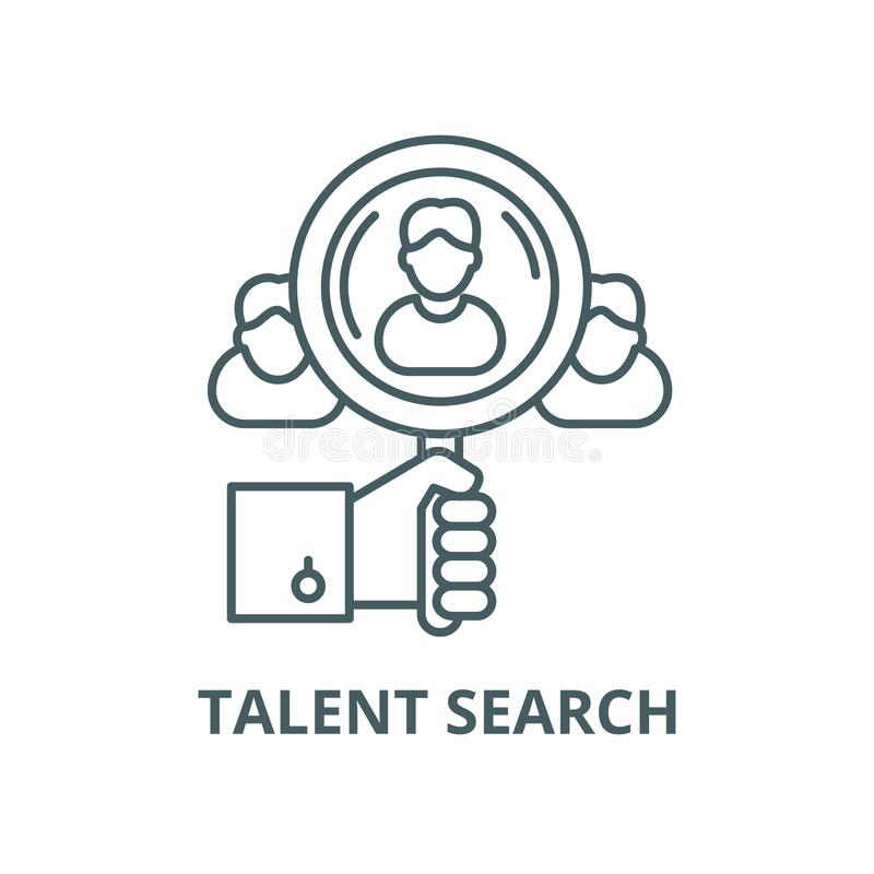 Talent search vector line icon, linear concept, outline sign, symbol. Talent search vector line icon, outline concept, linear sign royalty free illustration