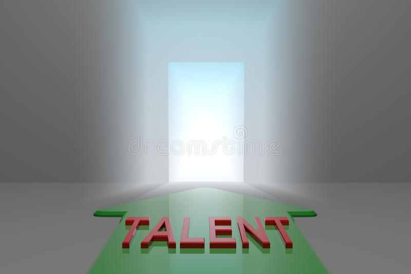 Talent to the open gate. Green arrow with talent word front of the open gate , 3d rendered vector illustration