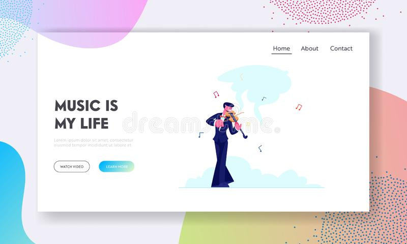 Talented Artist Performing on Scene Website Landing Page. Violinist in Concert Costume Playing Musical Composition royalty free illustration