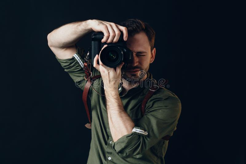 Talented successful photographer taking a photo royalty free stock images