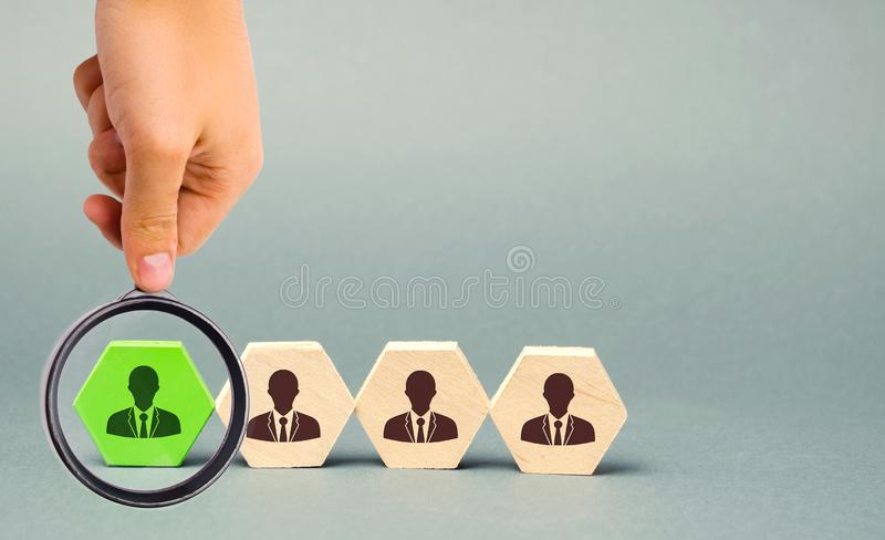 Talented worker. Human resources. Working staff management. The dismissal of an employee. Hiring. Recruiting. Headhunting. Talent. Choose. Select. Hire/ Team royalty free stock images