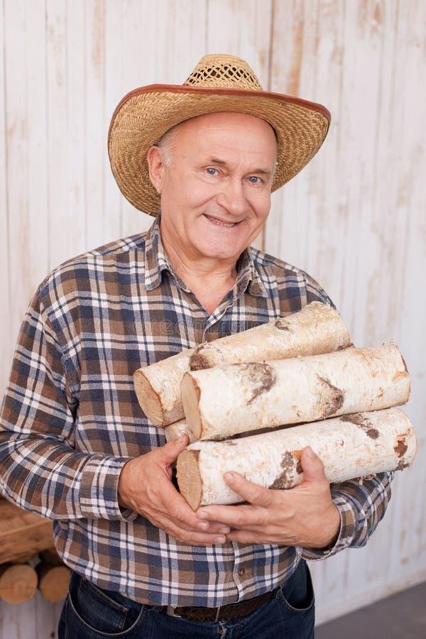 Talentierte ältere männliche Arbeitskraft trägt Holz lizenzfreies stockfoto