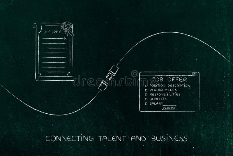 Talento y negocio de conexión, título universitario y oferta de trabajo ilustración del vector