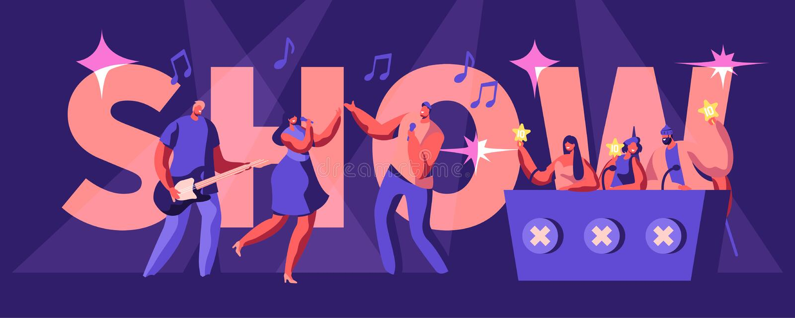 Talents Show Concept. Artists Sing and Play Guitar on Stage in Front of Judges Holding Gold Stars in Hands. Girl and Man Duet vector illustration