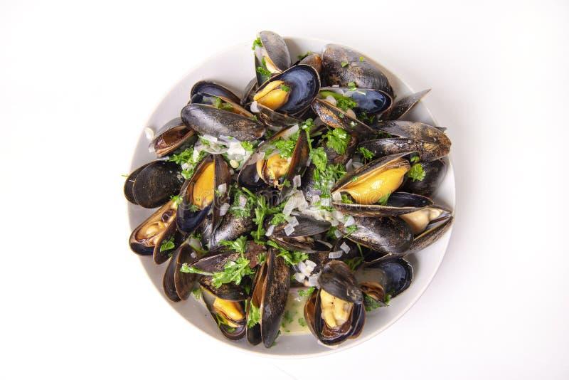 Talerz świezi mussels z cebuli i pietruszki mignonette obraz stock