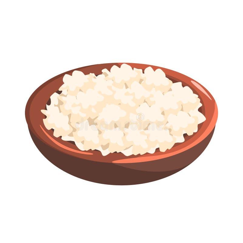 Talerz chałupa ser, produktu spożywczego bogactwo W proteinach, ważny element Zdrowa Zrównoważona dieta wektoru ilustracja ilustracja wektor