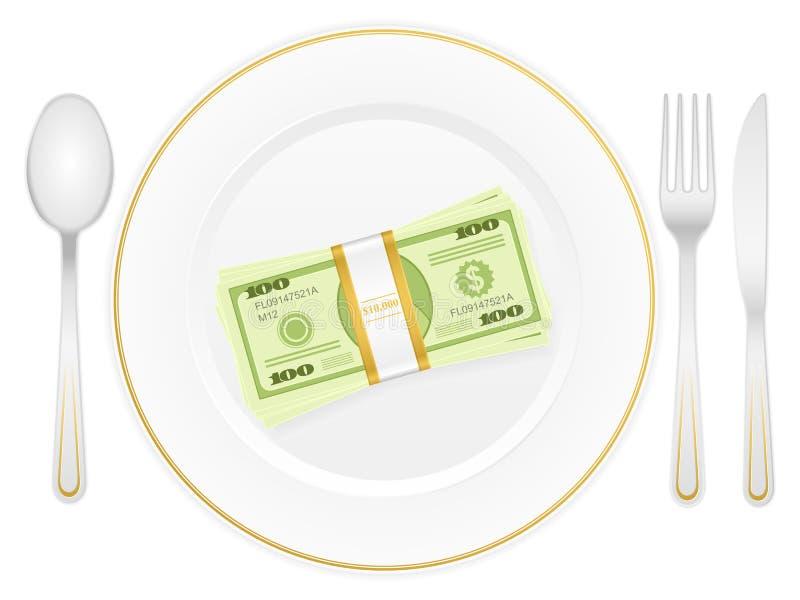 Talerz i dolar paczka royalty ilustracja