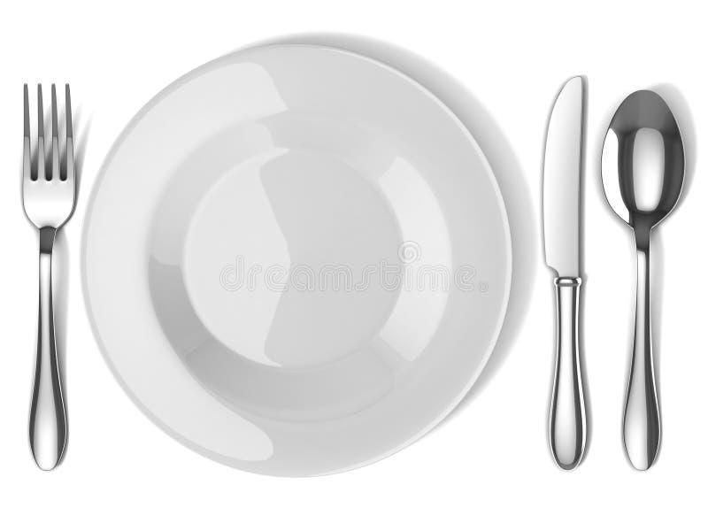 Talerz i silverware royalty ilustracja
