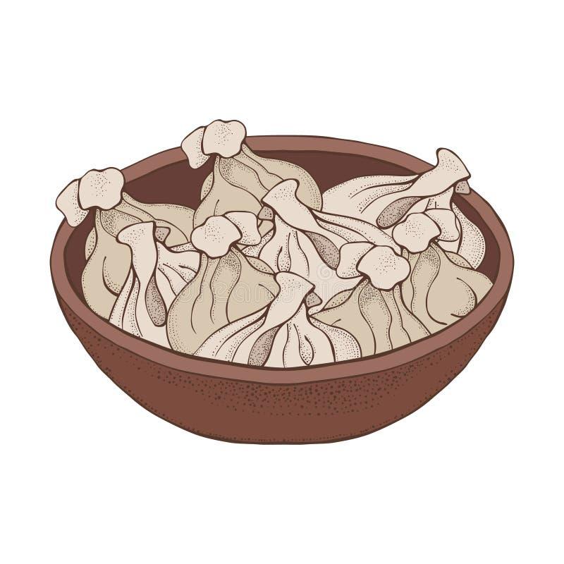 Talerz kluchy Kreskówka ręka rysujący pierożek Vareniki Pelmeni Mi?sne kluchy Jedzenie _ bambusa naczy? posi?ku obywatela talerza ilustracji
