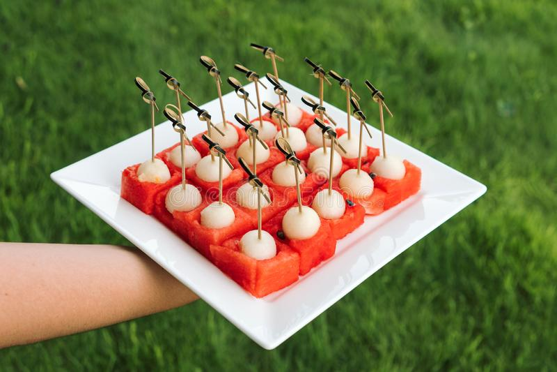 Talerz melonu i arbuza deser na pięknym bielu talerzu obraz stock
