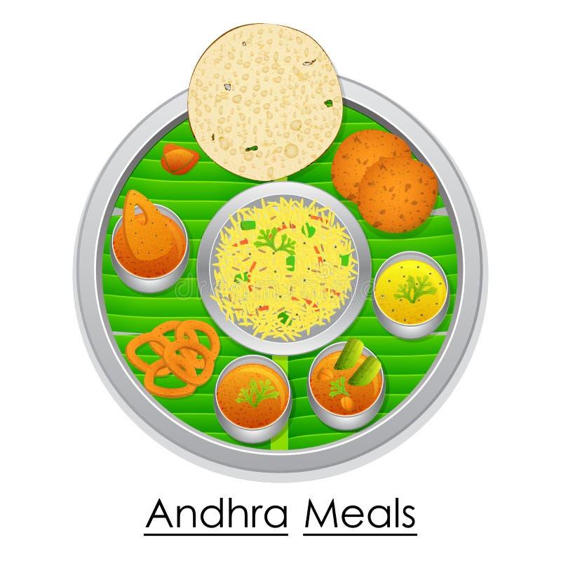 Talerz pełno wyśmienicie Andhra Pradesh posiłek ilustracja wektor