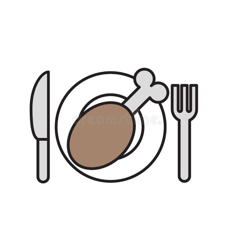 Talerz, rozwidlenie i nóż z, indykiem lub kurczak nogi ikoną Karmowy symbol Kreskówka projekta ikona Płaska wektorowa ilustracja ilustracji