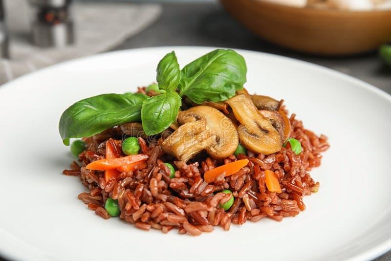 Talerz smakowici brązów ryż z warzywami i pieczarkami obrazy stock