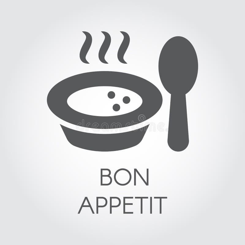 Talerz z łyżkową płaską ikoną Porcja gorący jedzenie z kontrpary i życzenie bonu oskomą Etykietka dla kulinarnych projekt potrzeb ilustracja wektor