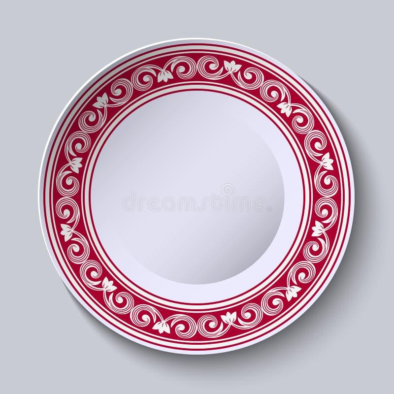 Talerz z czerwoną ornamentacyjną granicą Projektuje szablon w etnicznym stylowym Chińskim porcelana obrazie ilustracja wektor