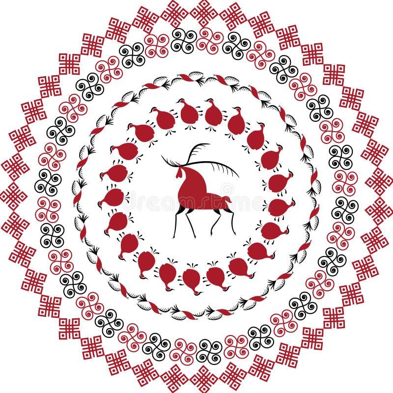 Talerz z dekoracyjnych elementów ludową sztuką północny region Rosja Mezensky czerwieni firebird Ilustracja, wektoru ramowy szabl ilustracji