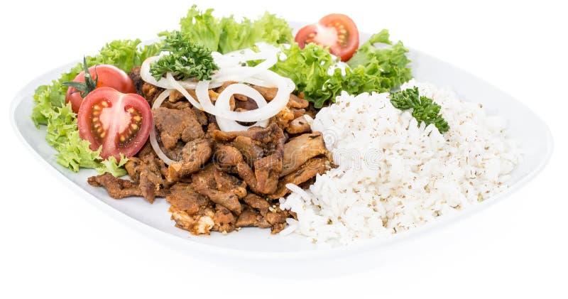 Talerz z Kebabem i Rice na bielu zdjęcie stock