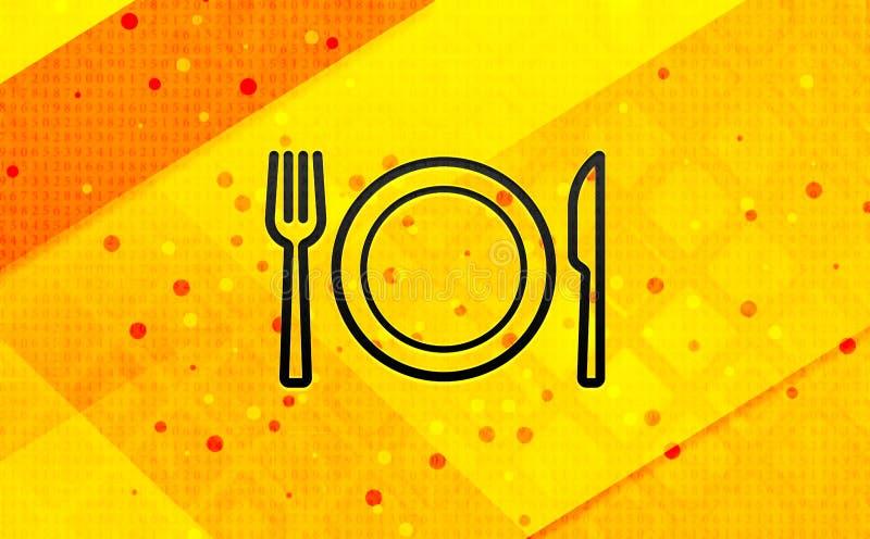 Talerz z rozwidlenia i noża ikony sztandaru koloru żółtego abstrakcjonistycznym cyfrowym tłem royalty ilustracja
