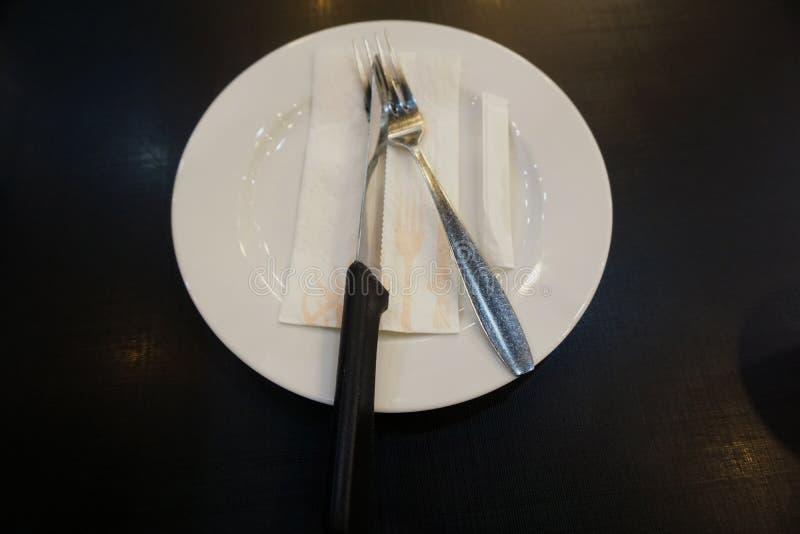Talerze i cutlery zdjęcia royalty free