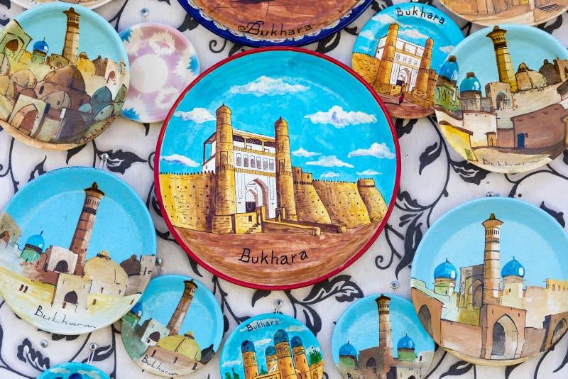 Talerze i garnki na ulicznym rynku w mieście Bukhara, uzbek obraz royalty free
