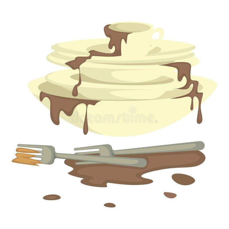 Talerze i rozwidlenia brudzą naczynia i dishwashing brudu plamy ilustracji