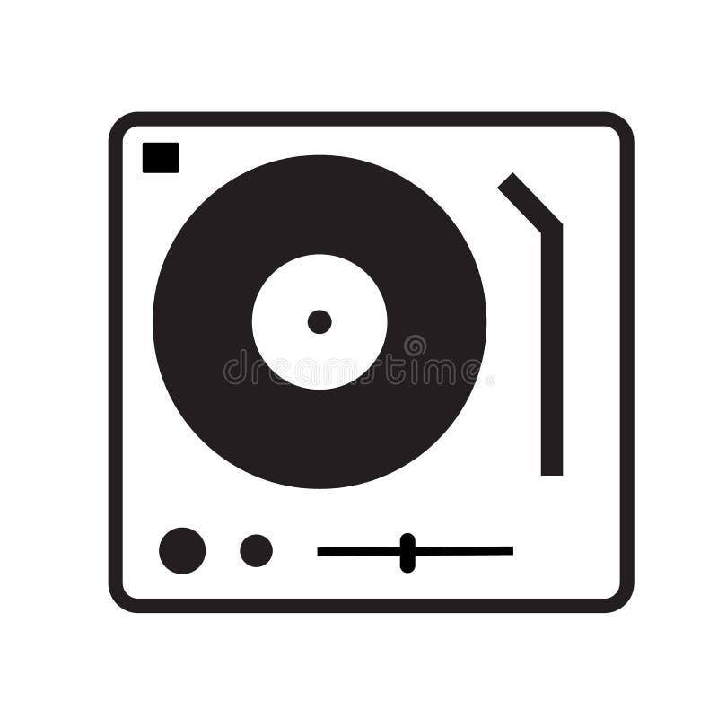Talerzowego dżokeja turntable ikona na białym tle Mieszkanie styl Talerzowego dżokeja turntable ikona dla twój strona internetowa ilustracja wektor