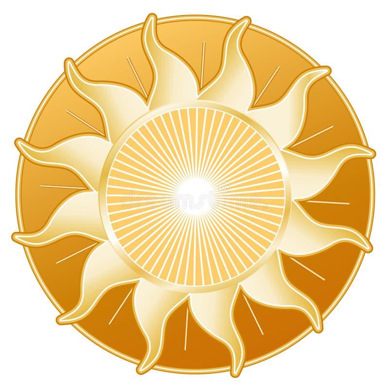 talerzowy złoty słońce ilustracja wektor