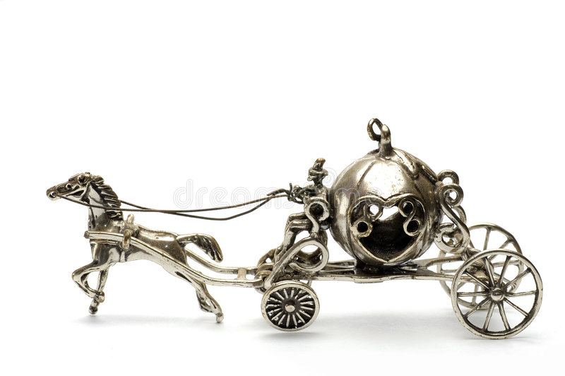 Tales Coach. A silver handmade tales coach isolated stock image