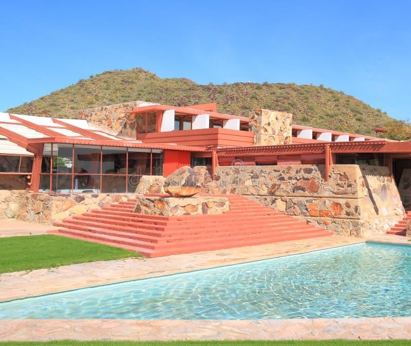 Frank Lloyd Wright: Taliesin västra/huvudsaklig byggnad royaltyfri fotografi