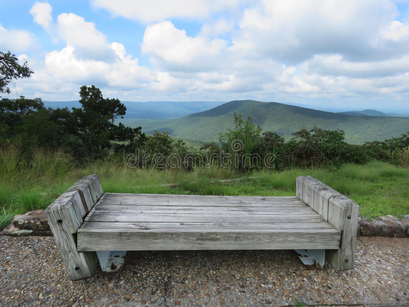 Talimena Drive, bench at scenic overlook on day trip near Arkansas border royalty free stock image