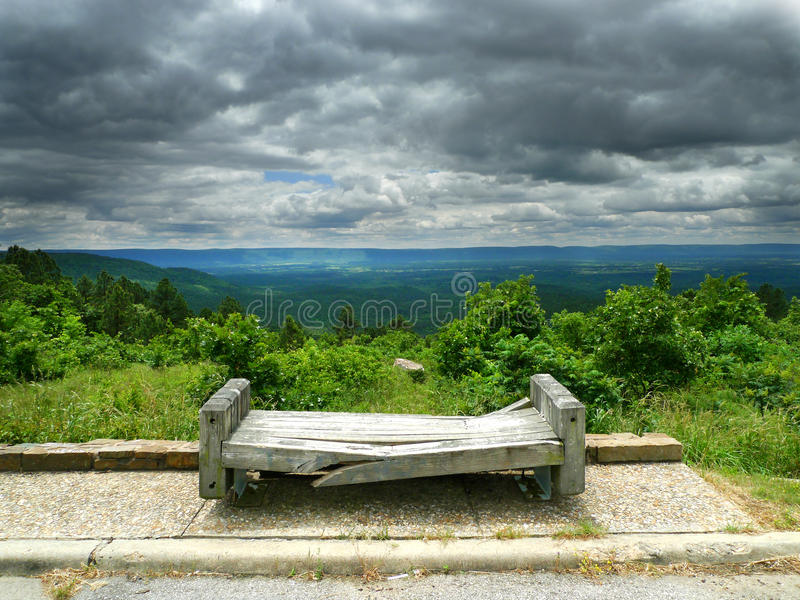 Talimena Drive, bench at scenic overlook royalty free stock images
