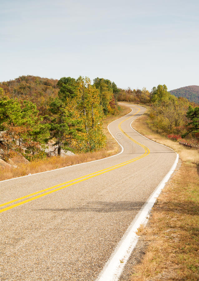 Talimena scenic byway winding on the crest of the mountain royalty free stock photo
