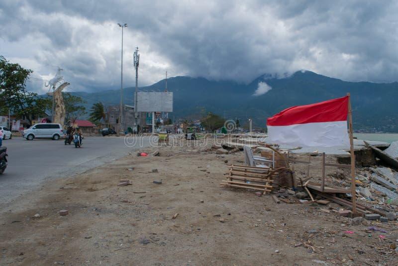 Talise Po tsunami Palu, Indonezja na 28 2018 Wrześniu obraz stock