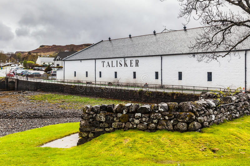 Talisker whisky distillery. In Carbost village, Isle of Skye, Scotland stock photos