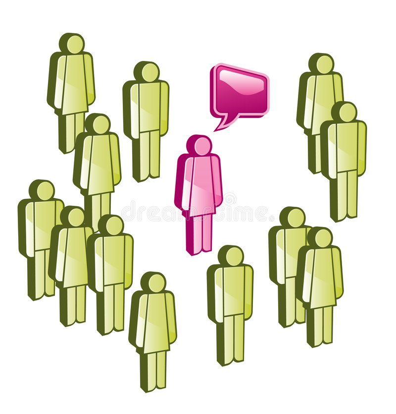 Talk. One person from group of people has his own opnion vector illustration