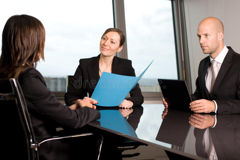 Talk in a bank stock photography