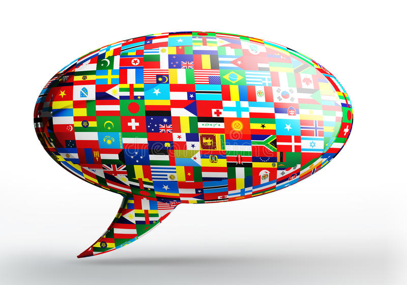 Talk bubble language concept with nation flags. On white backgound. clipping path included stock illustration